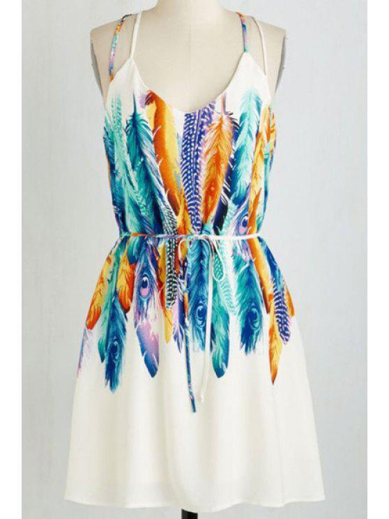 452c0c98a5 25% OFF] 2019 Feather Print Spaghetti Straps Dress In WHITE | ZAFUL
