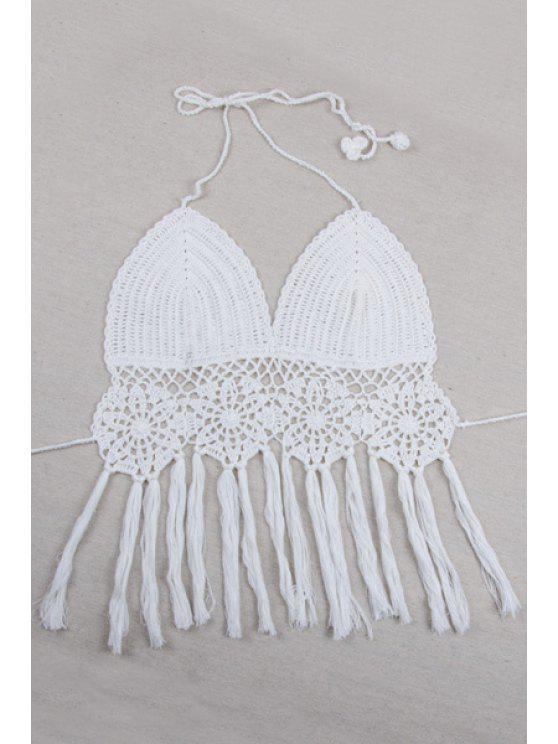 Crochet Halter Fringe Crop Top - Blanc Taille Unique(S'adap
