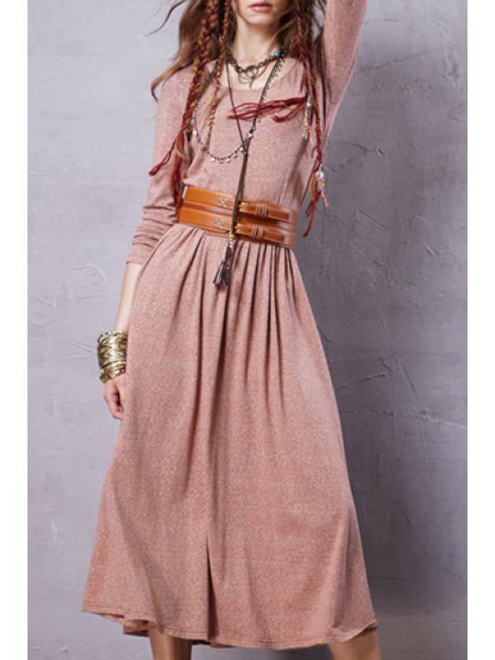 Robe vintage à couleur pure à manches longues à encolure dégagée - ROSE PÂLE S