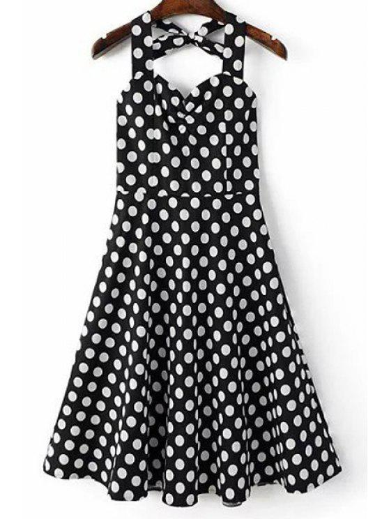 Lunar de impresión del cuello del halter Una línea vestido - Negro XL