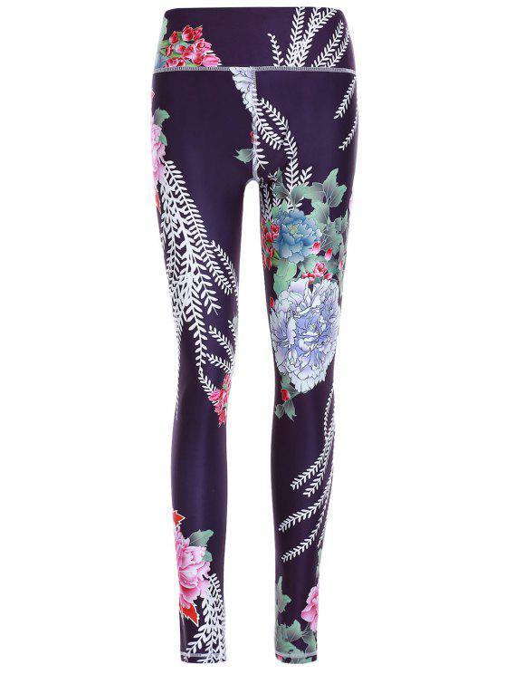 Sporty Floral Pantalons Imprimer Minceur Femmes - Noir L