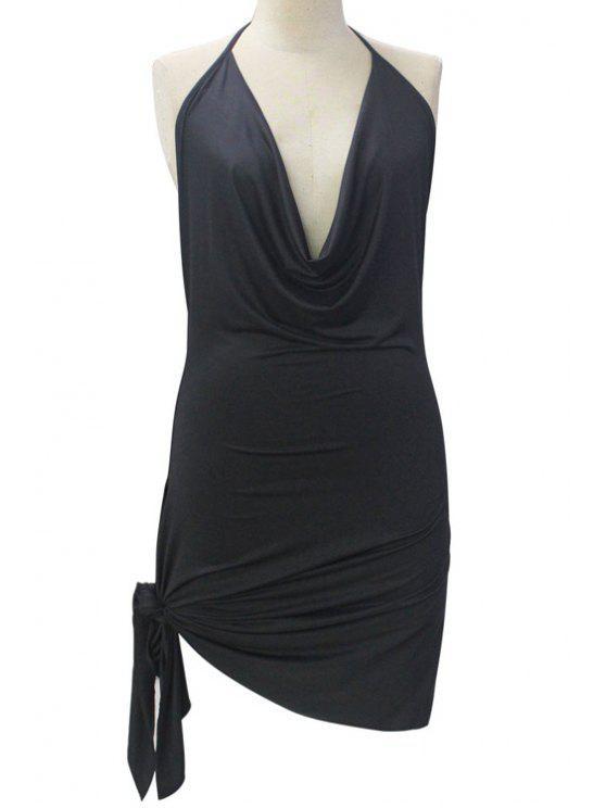 Sin espalda dobladillo irregular cabestro vestido de color sólido - Negro M