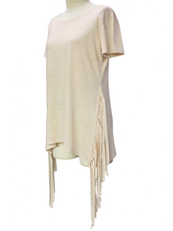 Manga corta de las borlas de empalmado de cuello redondo de la camiseta - CaquiClaro S