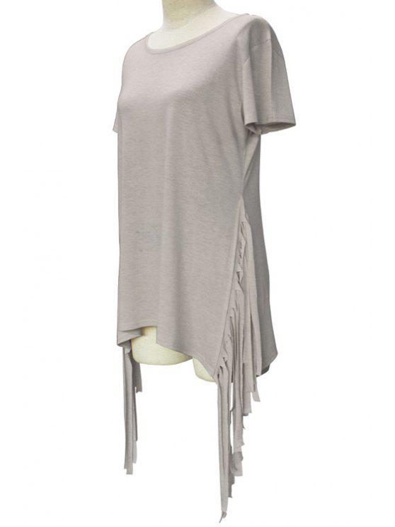 Manga corta de las borlas de empalmado de cuello redondo de la camiseta - Gris Claro XL