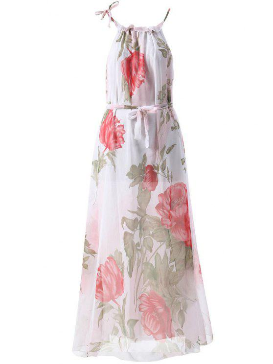 fancy Floral Print Sleeveless Round Collar Maxi Dress - WHITE S