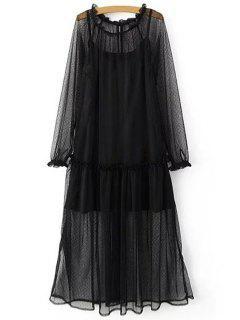 Sheer Mesh Dress And Cami Slip Dress Twinset - Black M