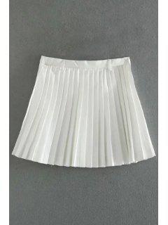 Plisado Una Línea De Mini Falda - Blanco L