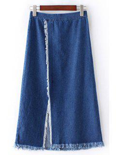 Front Slit Frayed Denim Skirt - Blue L
