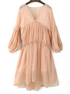 Lantern Sleeve Mesh Dress And Cami Dress Twinset - Pink S