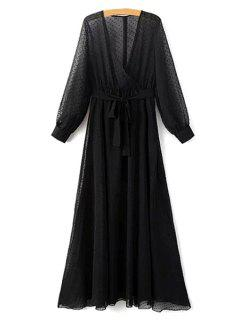 Dotted Sheer Chiffon Maxi Dress - Black L