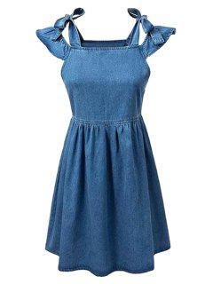 Square Neck Ruffle Sleeve Denim Dress - Blue L