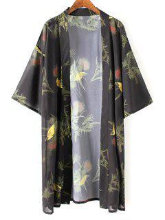 Kimono Sleeve Bird Print Chiffon Blouse - Black L