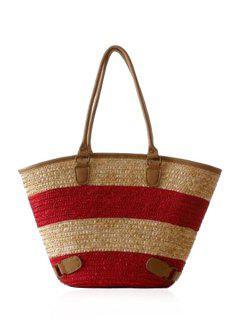Color Block Weaving Straw Shoulder Bag - Red
