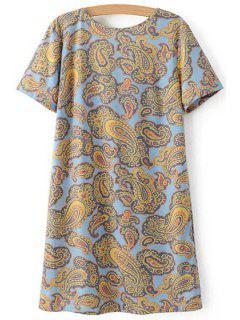 V-Back Paisley Print Tee Dress - M