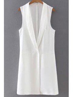 Shawl Collar Two Pockets Waistcoat - White L