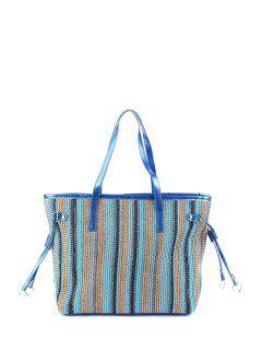 Weaving Striped Color Block Shoulder Bag - Blue