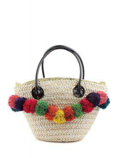 Weaving Straw Colorful Pompon Shoulder Bag - White