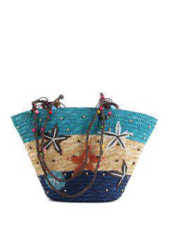 Color Block Embroidery Weaving Shoulder Bag - Blue