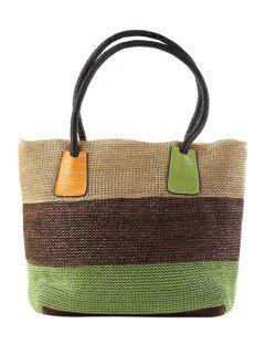 Weaving Splicing Color Block Shoulder Bag - Green