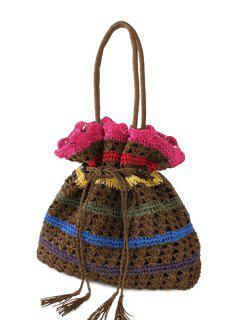 Knitted Striped Color Matching Shoulder Bag - Coffee