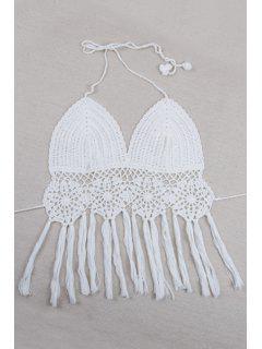 Crochet Halter Fringe Crop Top - Blanc