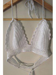 Crochet Halter Tube Top - White