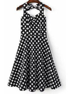 Polka Dot Print Halter Neck A Line Dress - Black Xl