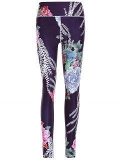 Printed Exposed Seams Slim Pants - Black S