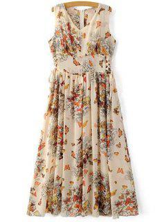 Butterfly Print V Neck Sleeveless Maxi Dress - Khaki Xl