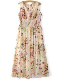Butterfly Print V Neck Sleeveless Maxi Dress - Apricot Xl