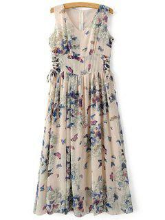 Butterfly Print V Neck Sleeveless Maxi Dress - Blue Xl