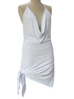 Sin Espalda Dobladillo Irregular Cabestro Vestido De Color Sólido - Blanco Xl
