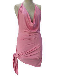 Backless Irregular Hem Halter Asymmetrical Bodycon Dress - Pink Xl