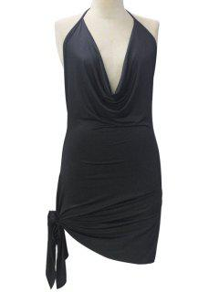 Backless Irregular Hem Halter Asymmetrical Bodycon Dress - Black M