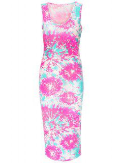 Printed Scoop Neck Sleeveless Bodycon Dress - White M