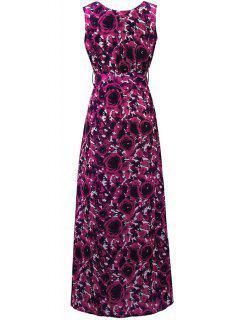 Imprimé Floral Col Rond Manches Maxi Dress - Rose Xl