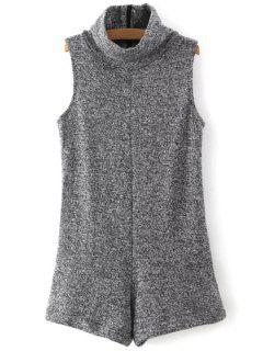 Turtleneck Sleeveless Gray Romper - Gray L