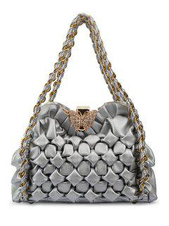 Chains Butterfly Ruffles Shoulder Bag - Silver