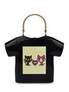 T-Shirt Shape Cat Print Evening Bag - Black
