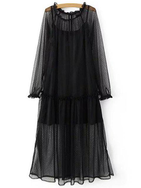 Deux pièces robe à bretelle réglable et robe transparente - Noir M Mobile