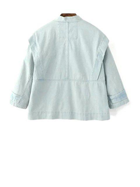affordable Big Pocket Denim Jacket - LIGHT BLUE S Mobile