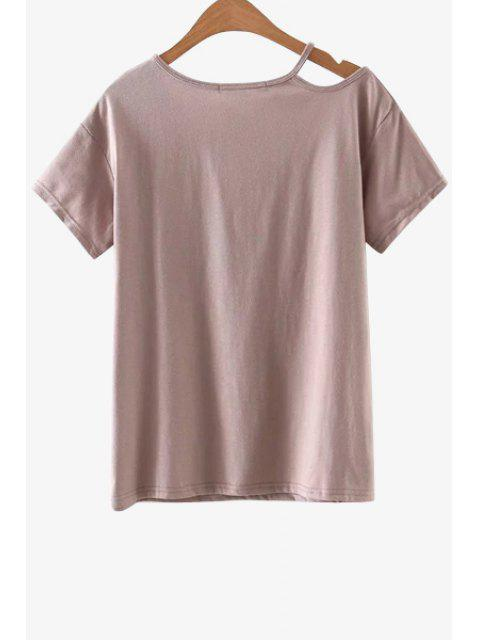 trendy Solid Color Cut-Out T-Shirt - PINK L Mobile