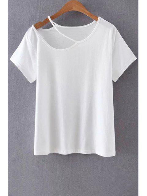 Solid Color Cut-Out-T-Shirt - Weiß M Mobile