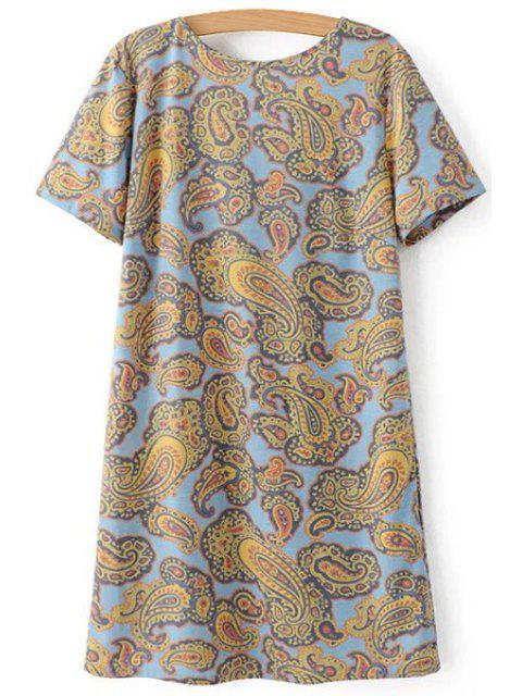 trendy V-Back Paisley Print Tee Dress - COLORMIX L Mobile