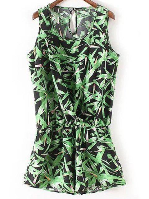 outfit Sleeveless Bamboo Leaf Playsuit - GREEN M Mobile