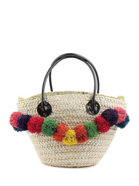 lady Weaving Straw Colorful Pompon Shoulder Bag - WHITE  Mobile