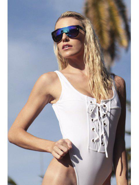 chic Lace-Up One-Piece Thong Swimwear - WHITE L Mobile