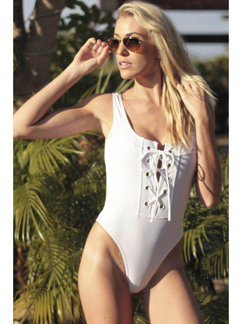 latest Lace-Up One-Piece Thong Swimwear - WHITE M Mobile