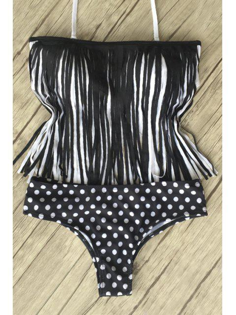 affordable Polka Dot Tassels Splicing Bikini Set - BLACK S Mobile
