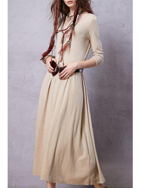 womens Solid Color Long Sleeve Scoop Neck Dress - LIGHT YELLOW L Mobile